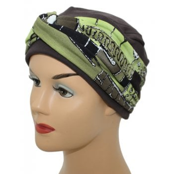 Elegant Brown Turban Hat With a Brown and Green Abstract Twist Wrap