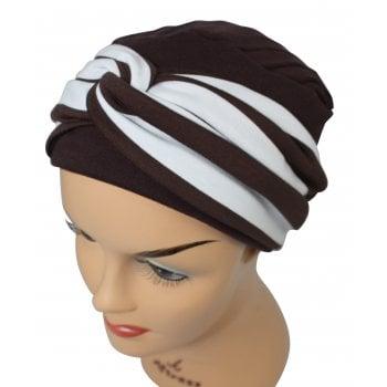 Elegant Brown Turban Hat With A Brown Stripe Twist Wrap