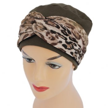 Elegant Brown Turban Hat With A Metallic Leopard Print Twist Wrap