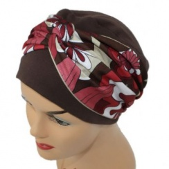 Elegant Brown Turban Hat With A Reds/Brown/Tan Floral Twist Wrap