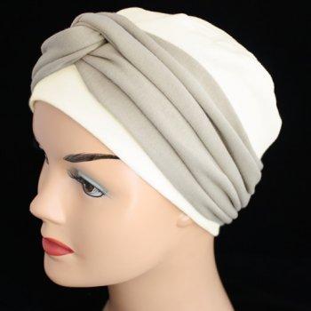 Elegant Cream Hat With A Tan Twist Wrap