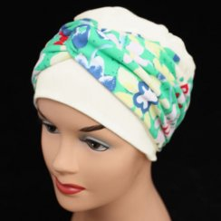 Elegant Cream Hat With Bright Floral Twist Wrap