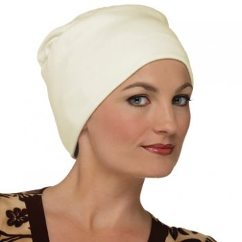 Elegant Cream Turban Hat 100% Cotton Jersey