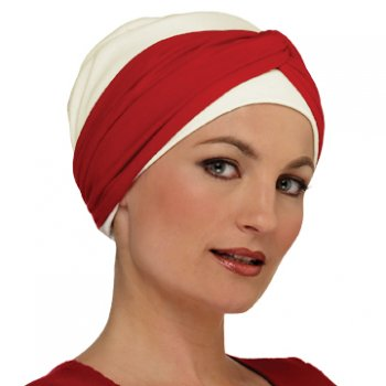 Elegant Cream Turban Hat With Red Twist Wrap