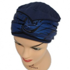 Elegant Navy Hat With A Blue Metallic Print Twist Wrap