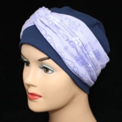 Elegant Navy Hat With A Lilac Daisy Wrap