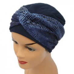 Elegant Navy Turban Hat With A Metallic Blue Snake Print Twist Wrap