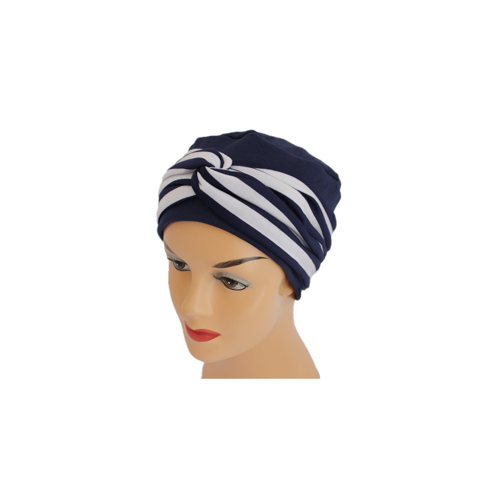 Elegant Navy Turban Hat With A Navy And White Twist Wrap - Bohemia ... e0b5fd7e3bc