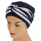 Elegant Navy Turban Hat With A Navy And White Twist Wrap