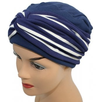Elegant Navy Turban Hat With A Navy Cream Stripe Twist Wrap
