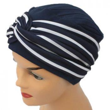Elegant Navy Turban Hat With A Navy Stripe Twist Wrap