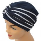 Elegant Navy Turban Hat With A Navy Stripe Twist Wrap