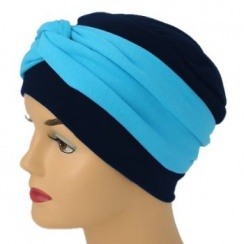 Elegant Navy Turban Hat With A Turquoise Blue Twist Wrap