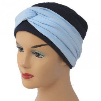 Elegant Navy Turban Hat With Baby Blue Twist Wrap