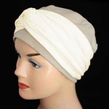 Elegant Tan Hat With A Cream Twist Wrap