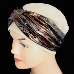 Elegant Tan Hat With A Metallic Animal Print Brown Twist Wrap