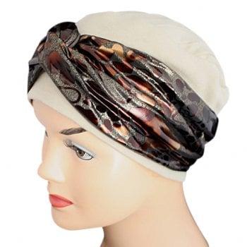Elegant Tan Hat With A Metallic Animal Print Brown Twist Wrap