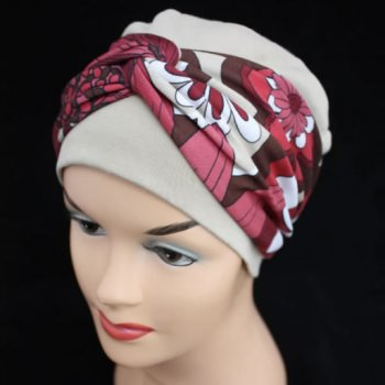 Elegant Tan Hat With A Reds/Brown/Tan Floral Twist Wrap