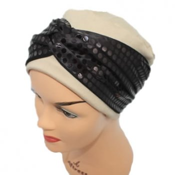 Elegant Tan Turban Hat With A Metallic Black/Brown Sequin Twist Wrap