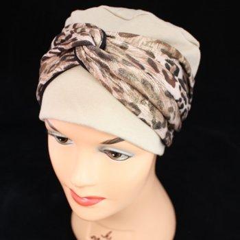 Elegant Tan Turban Hat With A Metallic Leopard Print Twist Wrap