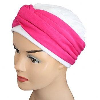 Elegant White Hat With A Fuschia Pink Twist Wrap