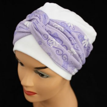 Elegant White Hat With A Lilac Daisy Twist Wrap
