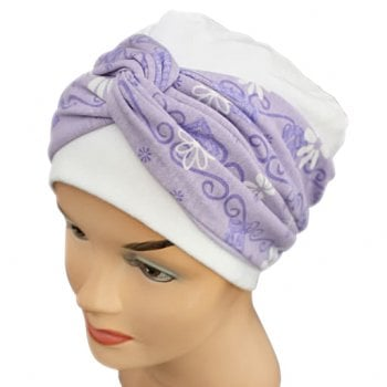 Elegant White Hat With A Lilac Daisy Twist Wrap