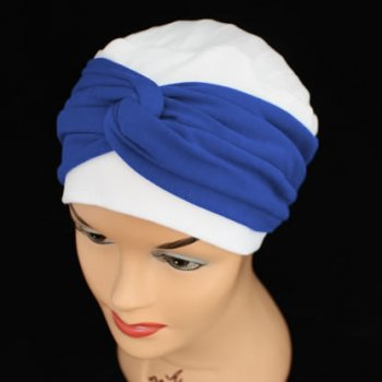 Elegant White Hat With A Royal Blue Twist Wrap
