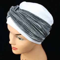 Elegant White Turban Hat With A Black And Grey Twist Wrap