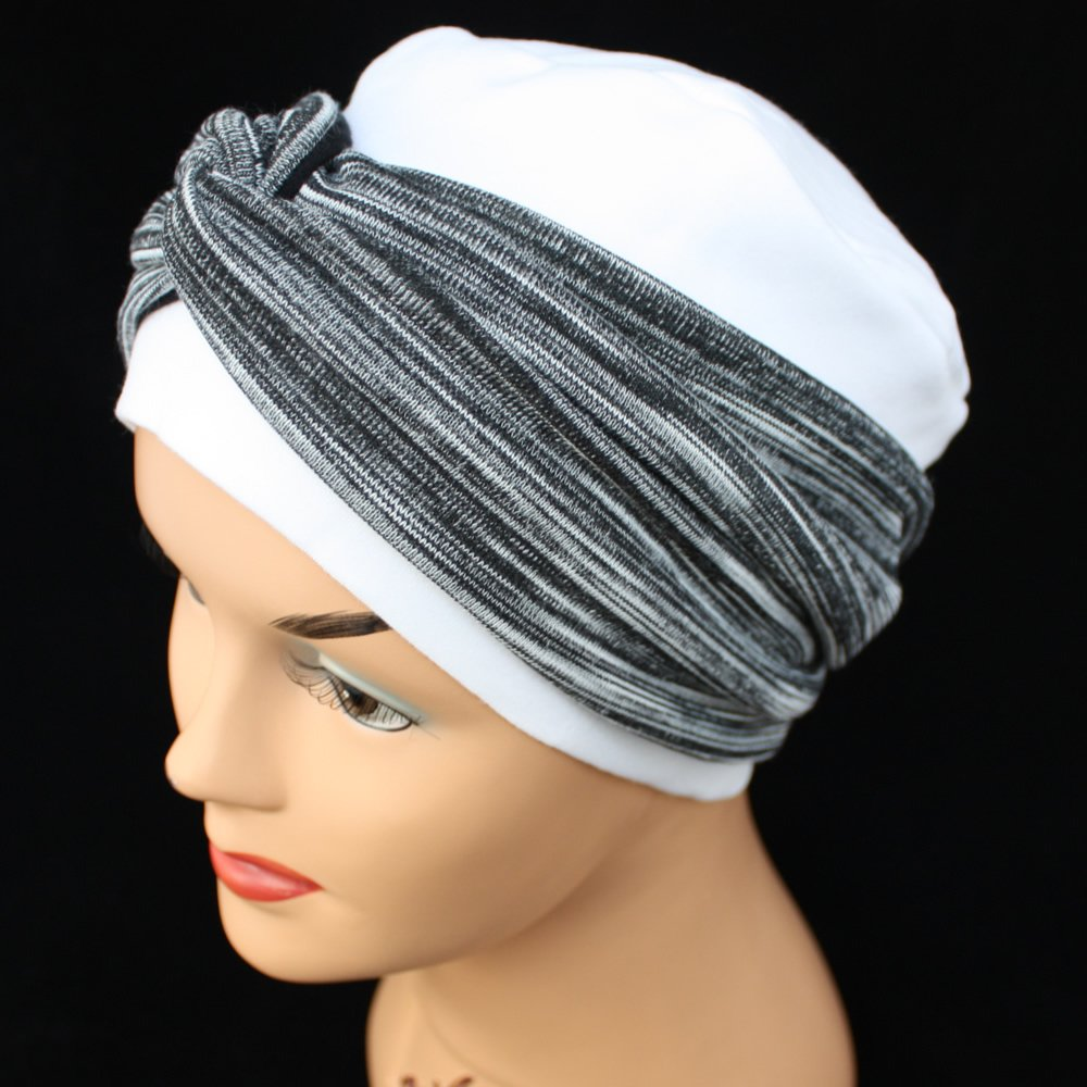 Elegant White Turban Hat With A Black And Grey Twist Wrap - Bohemia  Headwear from Bohemia Headwear UK 7689db14c50