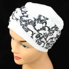 Elegant White Turban Hat With A Black/White Swirls Twist Wrap