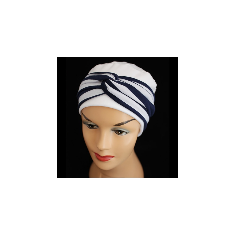 Elegant White Turban Hat With A Navy And White Twist Wrap - Bohemia ... 3c1a7da8a2b
