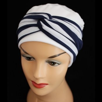 Elegant White Turban Hat With A Navy And White Twist Wrap