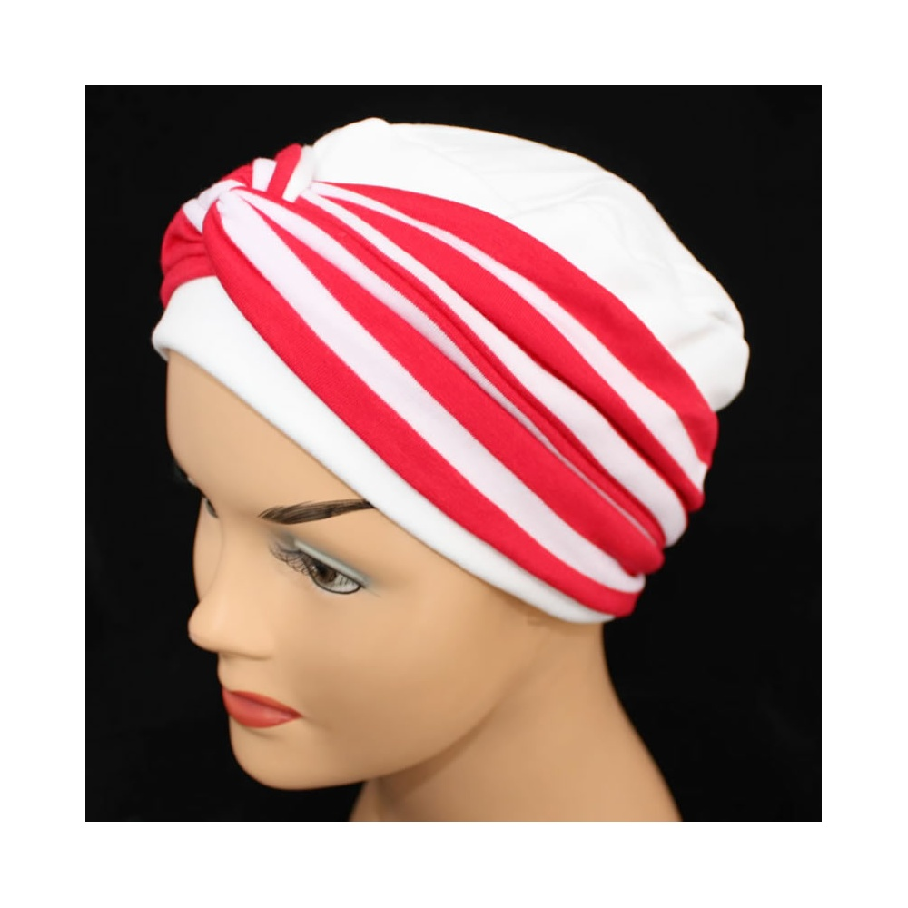 Elegant White Turban Hat With A Red Stripe Twist Wrap - Bohemia ... 10deabadeec