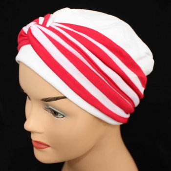 Elegant White Turban Hat With A Red Stripe Twist Wrap