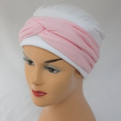 Elegant White Turban Hat With Baby Pink Twist Wrap