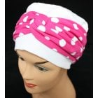 Elegant White Turban Hat With Fuschia Polka Dot Twist Wrap