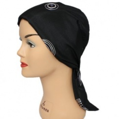 Embroidered Black Padded Head Tie Scarf