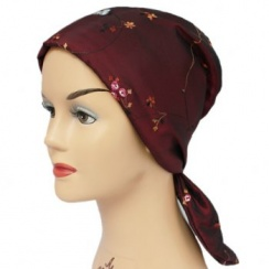 Embroidered Floral Burgundy Padded Head Tie Scarf