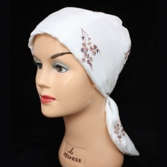 Embroidered Ivory Crinkled Padded Head Tie Scarf