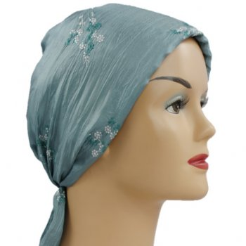 Embroidered Light Teal Crinkled Padded Head Tie Scarf