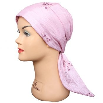 Embroidered Pink Crinkled Padded Head Tie Scarf