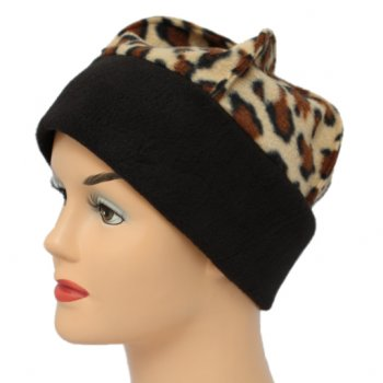 Fleece Hat Black/Brown Animal Print