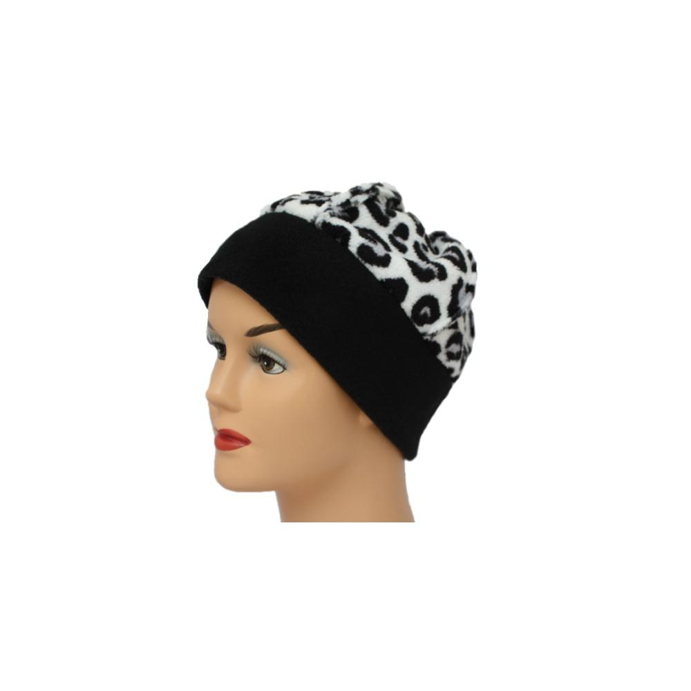 a4499befc52de9 Fleece Hat Black/White Animal Print - Bohemia Headwear from Bohemia ...