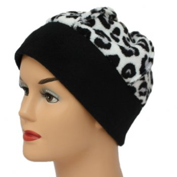 Fleece Hat Black/White Animal Print