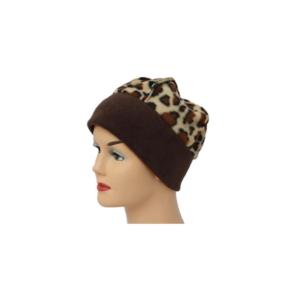 Fleece Hat Brown Brown Animal Print Bohemia Headwear