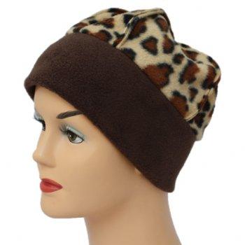 Fleece Hat Brown/Brown Animal Print