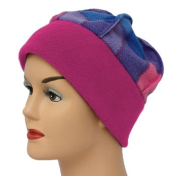 Fleece Hat Fuschia Pink/Tartan