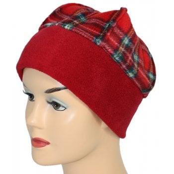 Fleece Hat Fuschia Red/Tartan