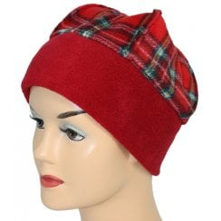 Fleece Hat Fuschia Red/Tartan